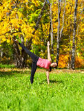 Den yogaArdha chandrasanaen poserar Arkivbild