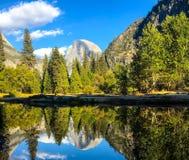 Den Yosemite spegelsikten för det majestätiskt vaggar dolt av träd royaltyfri fotografi
