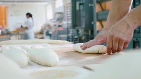 Den yrkesmässiga bagaren bildar stycken av deg i bagerireklamfilmkök lager videofilmer