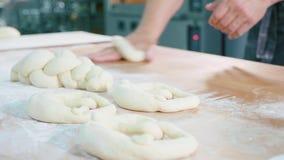 Den yrkesmässiga bagaren bildar stycken av deg i bagerireklamfilmkök stock video