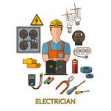 Den yrkesmässiga elektrikeren med elektricitet bearbetar konturn vektor illustrationer