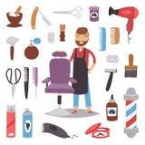 Den yrkesmässiga frisören för frisersalongen för salongen för frisyr för danande för barberaremanteckenet bearbetar vektorn för t stock illustrationer