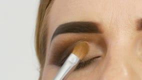 Den yrkesmässiga ledar- makeupkonstnären applicerar beige ögonskugga med den speciala borsten på modellöga på slutet för skönhets stock video
