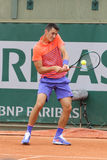 Den yrkesmässiga tennisspelaren Bernard Tomic av Australien åtgärdar in hans under den första runda matchen på Roland Garros Royaltyfria Foton