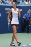 Den yrkesmässiga tennisspelaren Karolina Pliskova av Tjeckien firar seger efter hennes runda match fyra på US Open 2016 Royaltyfria Bilder