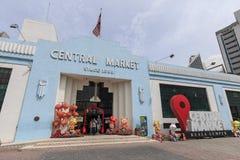 Den yttre fasaden av den centrala marknaden grundade i 1888, också bekant som den Pasar Seni marknaden, en av arvbyggnaderna i Ku Arkivbilder