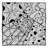 Den Zentangle prydnaden, skissar för din design Arkivbild