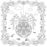 Den Zentangle stilspindeln i blommarammonokrom skissar och att färga för materielvektorn för sidan den antistress illustrationen royaltyfri illustrationer