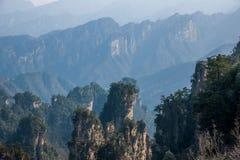 Den Zhangjiajie medborgaren Forest Park i Hunan allmänna Tianzishan vaggar Qunfeng Royaltyfria Foton
