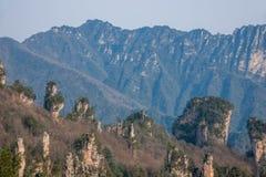 Den Zhangjiajie medborgaren Forest Park i Hunan allmänna Tianzishan vaggar Qunfeng Arkivbild