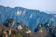 Den Zhangjiajie medborgaren Forest Park i Hunan allmänna Tianzishan vaggar Qunfeng Royaltyfria Bilder