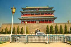 Den Zhengyangmen porthuset i den Tiananmen fyrkanten Beijing royaltyfria foton