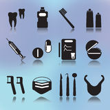 Denal icons. Dental icons in black and white version stock illustration