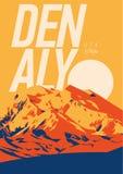 Denali στη σειρά της Αλάσκας, υπαίθρια αφίσα περιπέτειας της Βόρειας Αμερικής, ΗΠΑ Βουνό McKinley στην απεικόνιση ηλιοβασιλέματος Στοκ Εικόνες