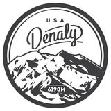 Denali in Alaska Range, North America, USA outdoor adventure badge. McKinley mountain illustration. Denali in Alaska Range, North America, USA outdoor adventure Royalty Free Stock Images