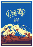 Denali in Alaska Range, North America, USA outdoor adventure poster. McKinley mountain illustration. Denali in Alaska Range, North America, USA outdoor Royalty Free Stock Photo