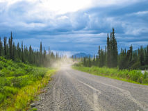 Denali Highway: dirt road in Alaska Royalty Free Stock Photo