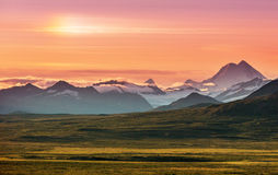 Denali highway. Landscapes on Denali highway, Alaska. Instagram filter Royalty Free Stock Images