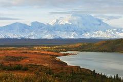 Denali Mountain and Wonder Lake at sunrise Royalty Free Stock Images