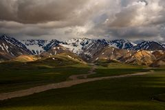 Denali Mountains and Storm Clouds Stock Images