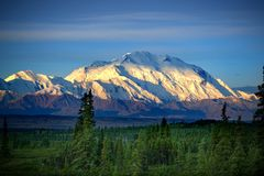 Denali Mt. McKinley. Sun over the Denali mountain Stock Image