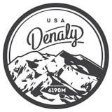 Denali na escala de Alaska, crachá exterior da aventura de America do Norte, EUA Ilustração da montanha de McKinley Imagens de Stock Royalty Free