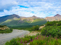 Denali national park. Spectacular landscape seen from the shuttle bus, the only means of transport that can make the gravel road inside the park. Denali National Stock Photography