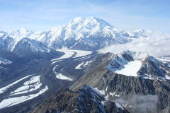 Denali Northside. This is a picture of Denali with the Old Volcano and Muldrow Glacier in front of it Stock Photos