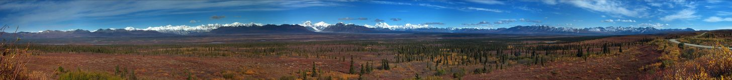 Denali panorama. Panoramic shot of Denali, Alaska range Royalty Free Stock Images
