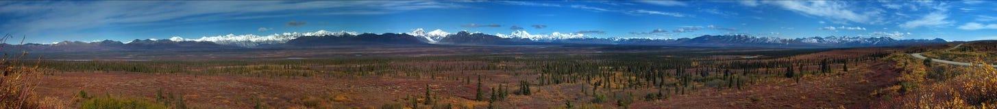 Denali panorama. Panoramic shot of Denali, Alaska range royalty free stock images