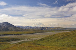 Denali Peaking out of the Clouds across the Tundra Stock Photos