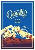 Denali w Alaska pasmie, Północna Ameryka, usa przygody plenerowy plakat McKinley góry ilustracja Zdjęcie Royalty Free