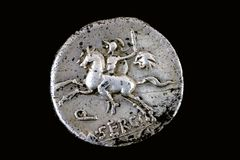 Denarius repubblicano di M.Sergius Silus 116 BC. Immagine Stock