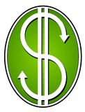Denaro contante verde dei simboli di dollaro Fotografia Stock