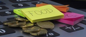 Denaro per le piccole spese su alimento immagine stock