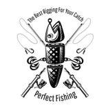 denbete fisken med två krokar och korsade metspön, i att inrista stil Logoen för fiske eller fiske shoppar på vitt stock illustrationer