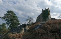 Dencourt tower in Fontainebleau forest. Cassepot rock in Fontainebleau forest Stock Photo