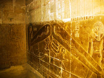Dendera Light - Detail of the Hathor's Temple. Located rather isolated on the desert edge, about 2.5 km south-west of the Town, lay what Dendera is known for Royalty Free Stock Images