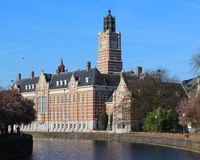Dendermonde Court House. DENDERMONDE, BELGIUM, MARCH 28 2017: View of the court house and the Oude Dender river in Dendermonde a town in East Flanders in Belgium Royalty Free Stock Photography