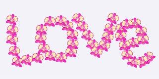 Dendrobium Orchidei karta w postaci słowo miłości wektor Zdjęcia Stock