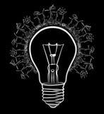 dendrog förnybara energikällorlightbulben skissar Royaltyfria Bilder