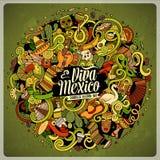 Dendrog tecknade filmen klottrar latin - amerikansk illustration stock illustrationer