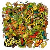 Dendrog tecknade filmen klottrar latin - amerikansk illustration royaltyfri illustrationer