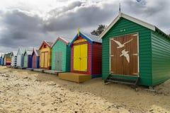Dendy街的五颜六色的沐浴的房子在墨尔本靠岸,布赖顿 免版税库存照片