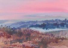Dene en el paisaje de la acuarela de la mañana Foto de archivo libre de regalías