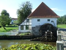 2008 denemarken Aabenraa Brundlundkasteel, watermill Royalty-vrije Stock Fotografie