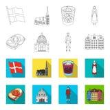 Denemarken, geschiedenis, restaurant, en ander Webpictogram in overzicht, vlakke stijl Sandwich, voedsel, brood, pictogrammen in  Stock Foto