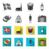 Denemarken, geschiedenis, restaurant, en ander Webpictogram in zwart-wit, vlakke stijl Sandwich, voedsel, brood, pictogrammen in  Royalty-vrije Stock Afbeelding