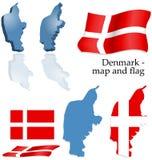 Denemarken - kaart en vlagreeks Stock Foto's