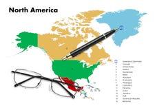 Denemarken op de kaart van Noord-Amerika Royalty-vrije Stock Afbeeldingen